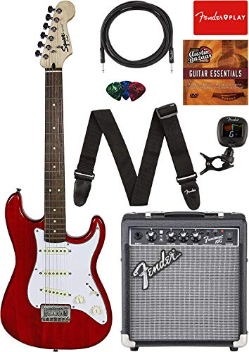 """Squier by Fender Short Scale (24"""") Stratocaster - Transparent Red Bundle with Frontman 10G Amp, Cable, Tuner, Strap, Picks, Fender Play Online Lessons, and Austin Bazaar Instructional DVD"""