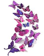 TUPARKA 36 stuks 3D vlinders deco vlinder wanddecoratie vlinder muursticker 3D wandtatoo vlinders balkon decoratie (roze-paars)