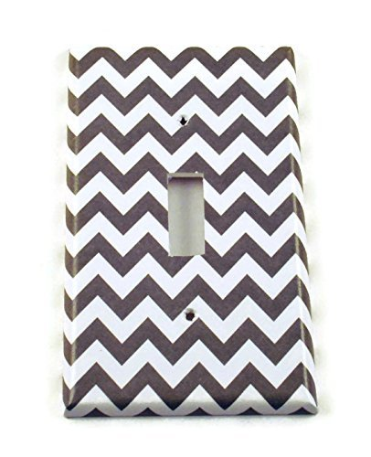 1 Gang Toggle Light Switch Cover, Grey Chevron (154S)