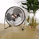 USB Fan, YKS 6 Inch Mini USB Table Desktop Stroller Personal Fan (Metal Design, Quiet Operation; 3.9 feet USB Cable, High Compatibility )- Bronze