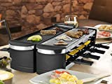 Artestia Electric Dual Raclette Grill with Aluminum Reversible Grill Plate and High Density Granite Grill Stone, Easy Setup in 360° Rotation, Serve whole family (Stone and Reversible Aluminum Plate)
