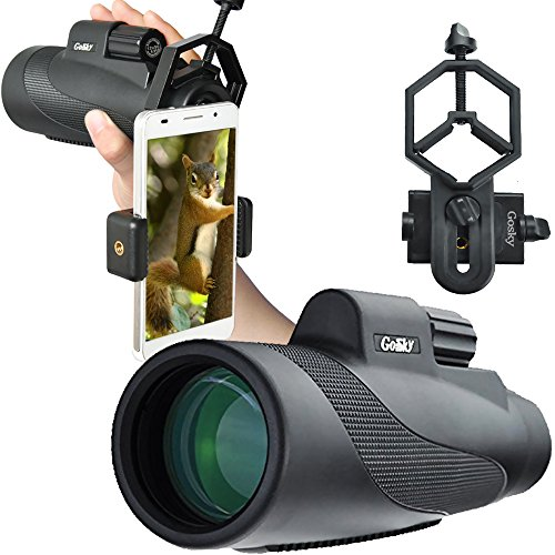 Gosky 12X50 High Power Prism Monocular And Smartphone Adapter Kit   Waterproof  Fog Proof Shockproof Grip Scope  Fmc Green Film Optical Lens