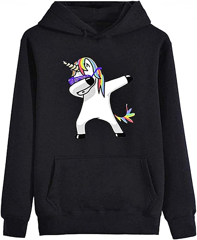 Girl Long Sleeve Black Color Dab Dance Original Gift idea with Hood Sweater Unicorn Womens Sweatshirt Sweater