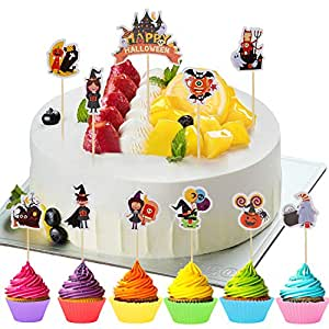 Ulikey 42Pcs Halloween Cupcake Topper, Magdalenas Halloween ...