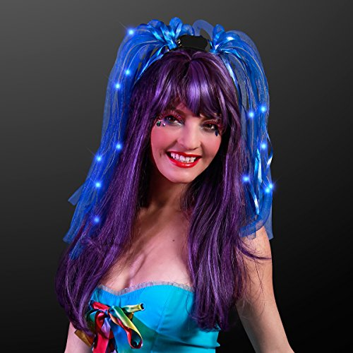 Light Up Blue Wig (Light Up Blue Hair Noodle Headbands)