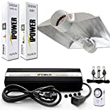iPower 1000 Watt HPS MH Digital Dimmable Grow Light System Kits Cool Tube Reflector Set XL Wing
