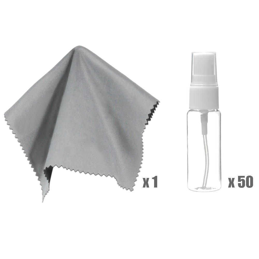 LS Photography Plastic Empty Spray Bottle Small Size (x 50) and 6''x7'' Gray Cleaning Cloth (x 1), Camera and Lens Cleaning Kit, Photo Studio, LGG439 by LS Photography