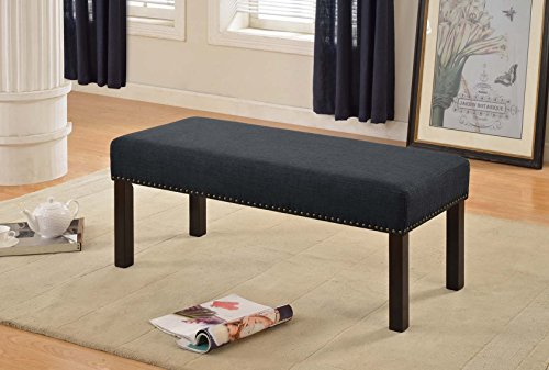 Container Direct Fabric Upholstered Decorative Bench, Dark Grey