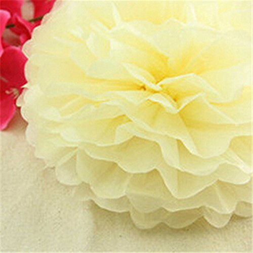 artificial Tissue paper flower ball wedding home decoration DIY party festival Home Decor paper lantern craft supplies 30cm in diameter (5pcs / lot) (light yellow) from paper flower ball