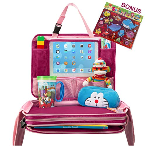 Kids Travel Tray - Detachable Top 4-in-1 Car Organizer w Tablet Holder - Play Snack Lap Table