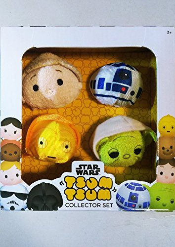 (Disney Tsum Tsum star wars 4-pk collection set with Luke, C-3PO, R2-D2 and)