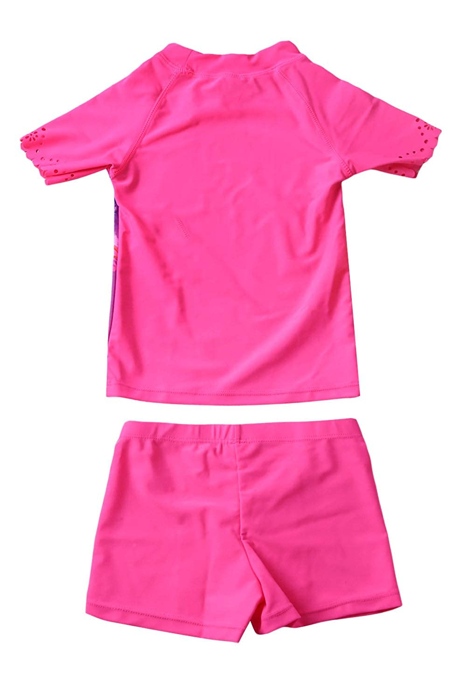 Blibea Girls Cute Swimsuit Short Sleeve Shirt Tops Printed Rash Guard Set Swimwear BUT410022-P