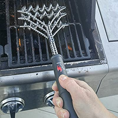 Kona Safe/Clean Grill Brush ~ Bristle Free Barbecue Grill Brush - 100% Rust Resistant Stainless Steel BBQ Grill Cleaner ~ Safe For Porcelain, Ceramic, Steel, Iron ~ Great Grilling Accessories Gift from Nickle's Arcade