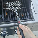 Safe/Clean Grill Brush ~ Bristle Free Barbecue Grill Brush - 100% Rust Resistant Stainless Steel BBQ Grill Cleaner ~ Safe For Porcelain, Ceramic, Steel, Iron ~ Great Grilling Accessories Gift