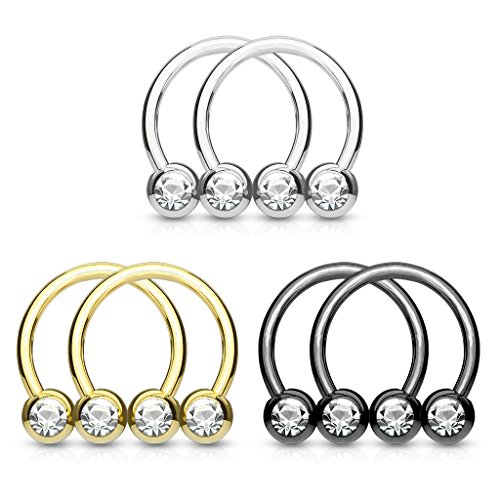 Fifth Cue 14G 6pc Front Facing Gem Set Balls IP Over 316L Surgical Steel Circular/Horseshoes for Nipple Septum & Ear Cartilage Piercings Value Pack