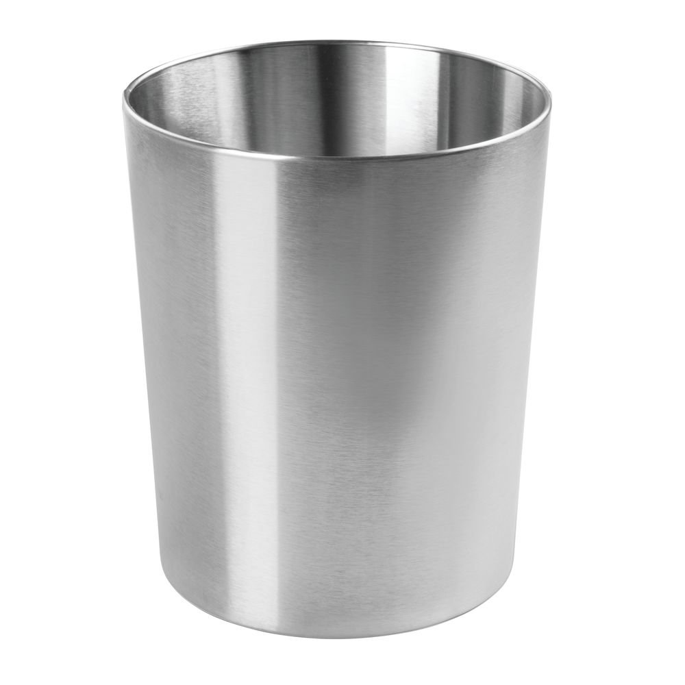 Kitchens mDesign Round Metal Small Trash Can Wastebasket Durable Stainless Steel Powder Rooms Polished Garbage Container Bin for Bathrooms Home Offices