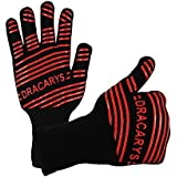 Dracarys Heat Resistant Gloves BBQ Cooking Grill Gloves-Insulated Extreme Anti-scalding gloves 932°F for Handling, Fireplaces,Stoves, Ovens, Pot Racks, Barbecues etc-1 Pair, Red Silicone Insulated