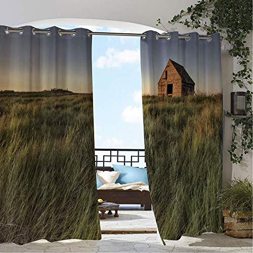 Outdoor Waterproof Curtain Farmhouse Spring Season Lonely House Old Village Architecture Pastoral Lands Reseda Green Multicolor doorways Grommet Party Curtain 72 by 72 inch