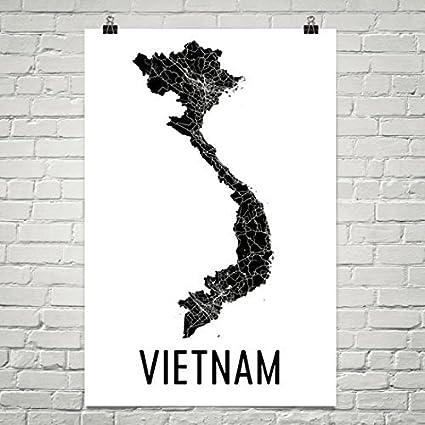 Amazon.com: Modern Map Art Vietnam Map, Vietnamese Art ...