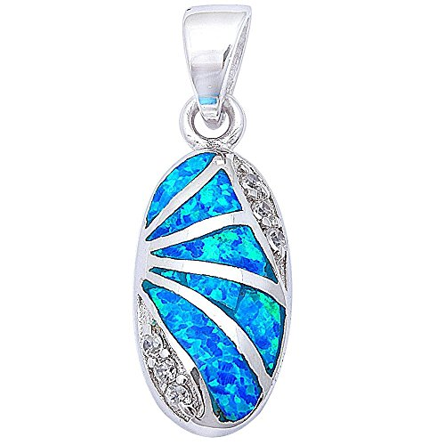 Sterling Silver Lab Created Opal Oval Designer Pendant COLORS AVAILABLE! (Lab Created Blue Opal) - Oval Designer Pendant