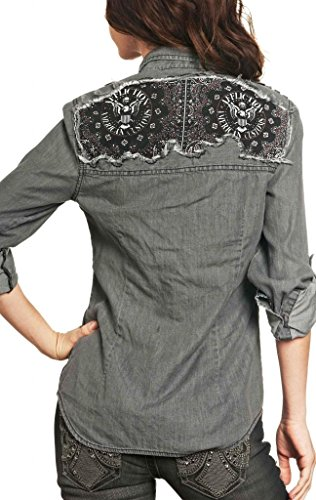 Affliction Love Struck Long Sleeve Shirt S Charcoal by Affliction (Image #1)