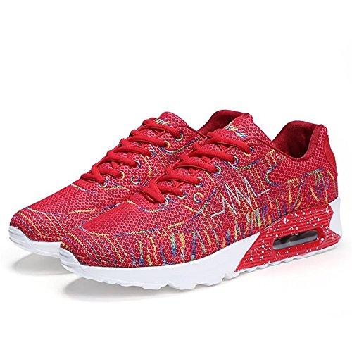 Hombre Rojo para Mujer tacón Zapatillas Alto Cordones Planas y con atléticas Zapatillas y dog Dig bone qT4SS0