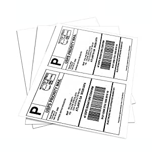 MFLABEL Half Sheet Self Adhesive Shipping Labels for Laser & Inkjet Printers, 200 Count