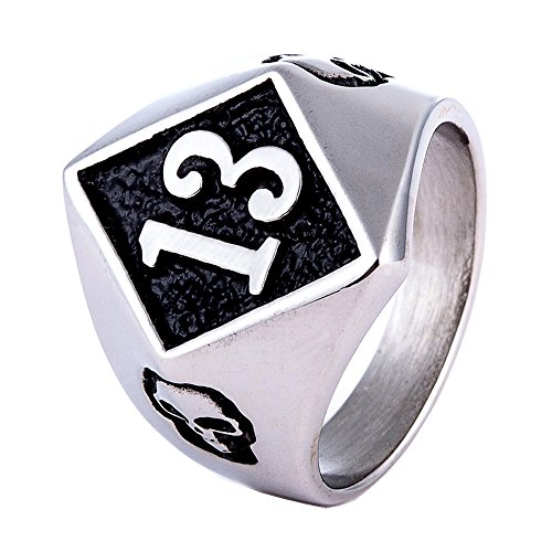 ZMY Men's Fashion Jewelry Rings, 316L Stainless Steel Hip Hop Skull Biker Number 13 Ring for Men -