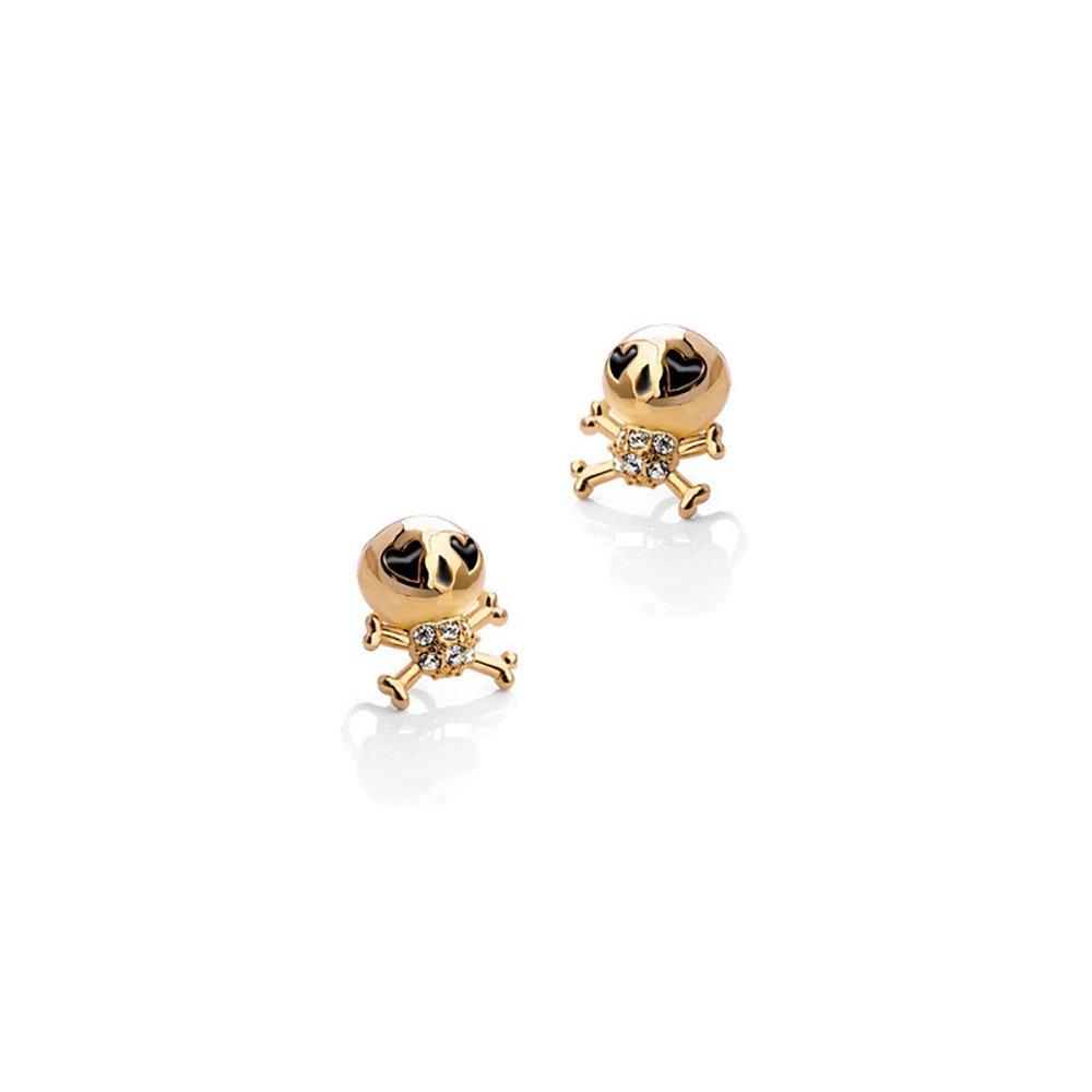 Cute Skull Drip Oil Stud Earrings, Love Zircon Jewelry for Women Girls Christmas Gifts