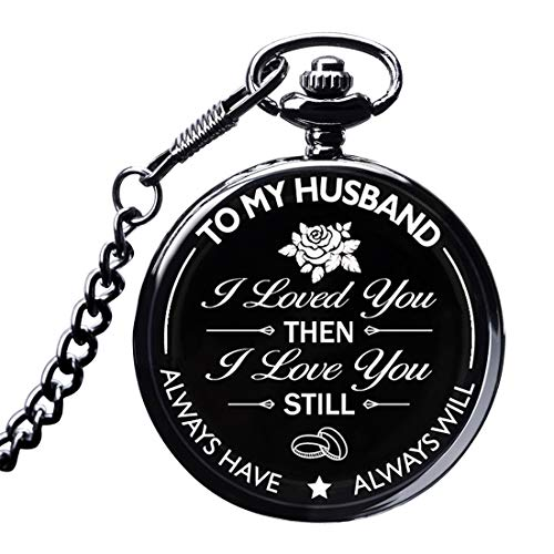 LibbyPet Pocket Watch to My Husband Gifts from Wife to Husband for Anniversary,Birthday or Everyday Carry Present for Him (Black Pocket Water to My Husband) (Best Birthday Presents For Husband)