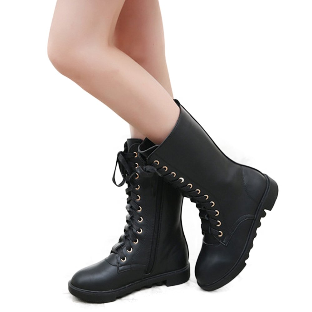YING LAN Kids Girls Boys Leather Round Toe Military Lace up Mid Calf Combat Boots Winter Warm Snow Boots Black 34