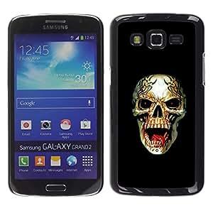 Shell-Star Arte & diseño plástico duro Fundas Cover Cubre Hard Case Cover para Samsung Galaxy Grand 2 II / SM-G7102 / SM-G7105 ( Metal Death Rock Roll Black Skull )
