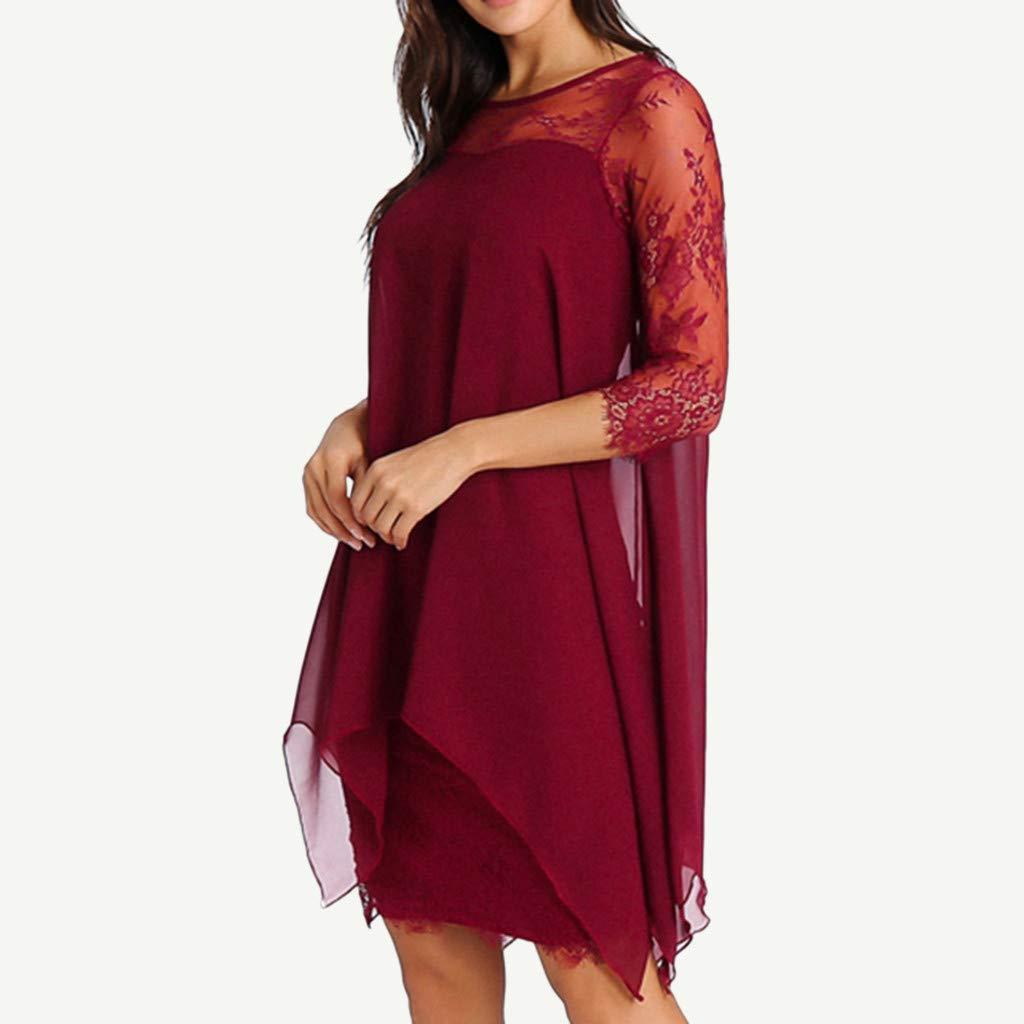 Bluelucon Donna Moda Mini Vestiti Elegante Chiffon Manica 3//4 Abiti Orlare Irregolare Abito Vestito Cerimonia Taglie Forti S-5Xl