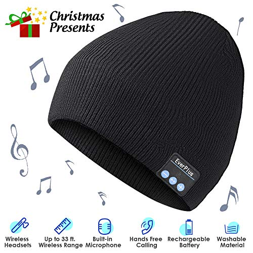 Bluetooth Beanie, Bluetooth Hat, Wireless Headphones Beanie, Music Hat with Built-in Microphone, Fit for Outdoor Sports, Skiing,Running, Skating, Walking(Black)