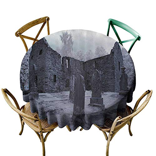 one1love Round Outdoor Tablecloth Gothic Decor Collection Old Gothic Cemetery Church Tomb and Tombstone Mysticism Spooky Forest Style Modern Minimalist 67 INCH Cloudy -