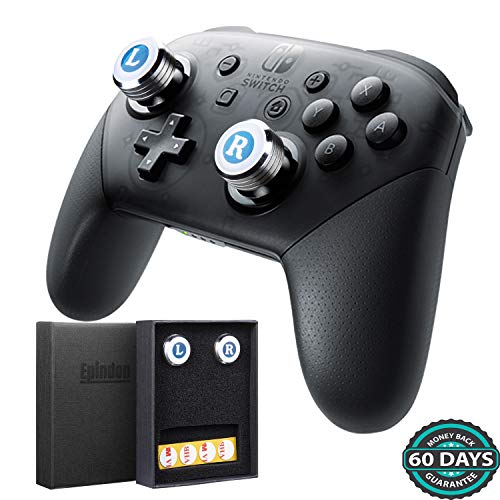Epindon FPS Thumb Grips AIM Sticks Cover for Nintendo Switch Pro Controller, Metal Diamond-Cutting Body with Soft Face - Silver
