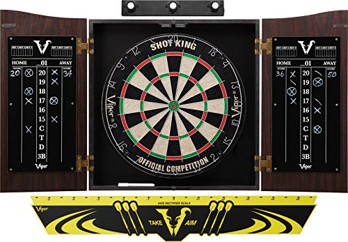 Viper Vault Cabinet & Shot King Sisal/Bristle Dartboard Ready-to-Play Bundle: Premium Set (Shot King Dartboard, Darts, Shadow Buster and Throw ()