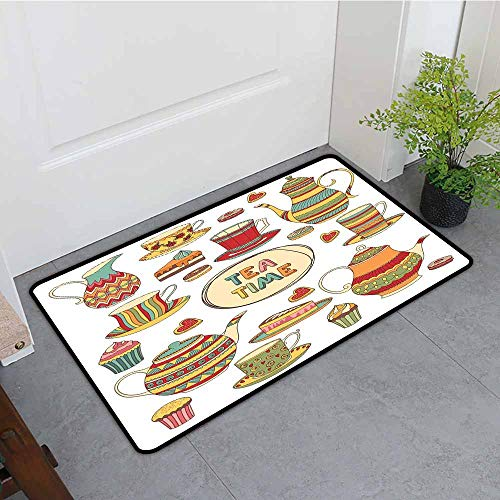 """ONECUTE Indoor Doormat,Tea Party Tea Time Cartoon Set with Donuts Cake Slices Cupcakes Breakfast Get Together,for Outdoor and Indoor,35""""x24"""" Multicolor"""