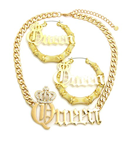Women's Statement Queen Necklace , Bamboo Pierced Earring in Gold Tone (Queen Necklace + Earring -