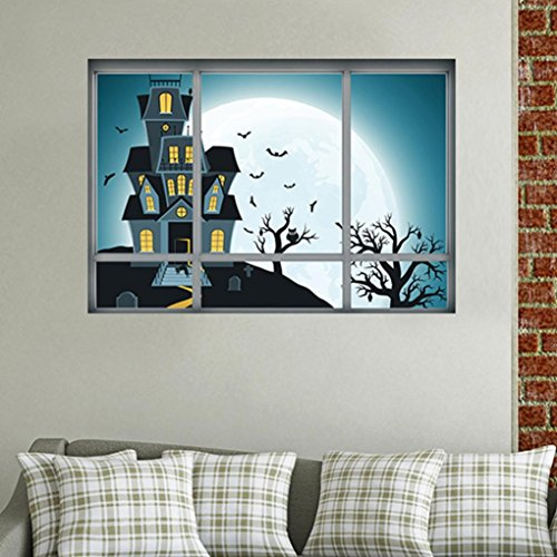 Elevin(TM) Halloween 3D Self Adhesive Wall Stickers Remove Wall Decal Paper Art Home Decor