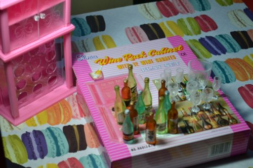 Barbie Size Dollhouse Furniture- Wine Rack with Wine Bottles and Glasses