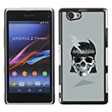 All Phone Most Case / Hard PC Metal piece Shell Slim Cover Protective Case for Sony Xperia Z1 Compact D5503 Girl Skull Electric Metal Ink Biker Tattoo
