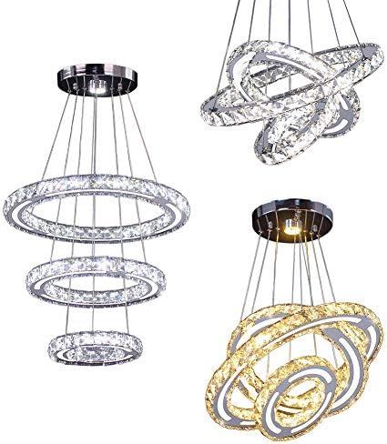Modern Crystal Chandeliers, CXGLEAMING LED Chandelier 3 Rings Pendant Light Adjustable Stainless Steel Crystal Ceiling Lighting Fixture for Hallway, Bedroom, Living Room, Kitchen, Dining Room