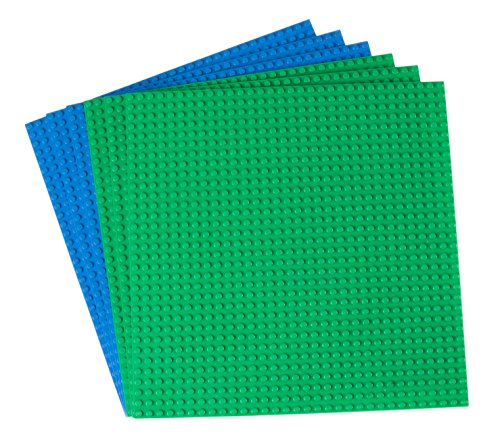 Strictly Briks Classic Baseplates Building Brick (6 Piece), Green/Blue, 10'' x 10'' by Strictly Briks