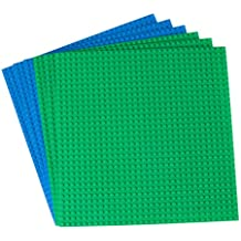 """Strictly Briks Classic Baseplates Building Brick (6 Piece), Green/Blue, 10"""" x 10"""""""