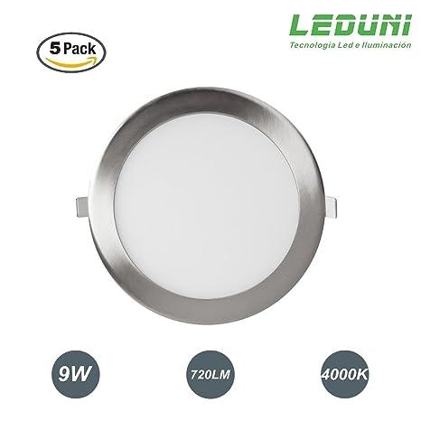 LEDUNI ® Pack 5 Unidades Downlight Panel LED NÍquel Redonda 9W 720LM Luz Neutra 4000K Angulo