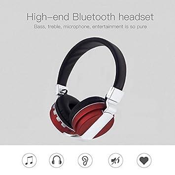 Cewaal Auriculares Bluetooth V4.2, Auriculares inalámbricos/con cable Sobre la oreja Auriculares plegables con micrófono para iPhoneX Ordenador rojo: ...
