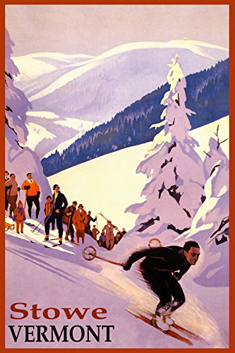 "Winter Sports Stowe SKI Mountain Vermont Downhill Skiing USA Travel Vintage Poster REPRO ON Paper OR Canvas (12"" X 16"" Image ON Canvas)"