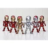 Multi-color The Avengers Iron Man Eye Light Function Iron Man Mark 2 3 4 5 6 42 PVC Action Figure Collectible Model Toys 6Pcs/Set