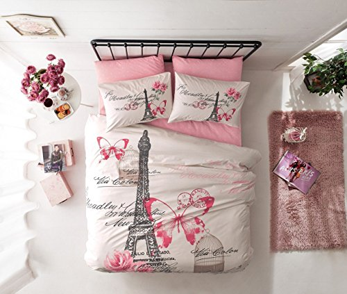 %100 Cotton Ranforce 7 PCS Pink Cream Full Queen Size Duvet / Quilt Cover Set Paris Eiffel Tower Theme Themed Bedding (Tower Cream)
